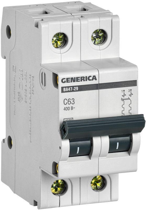 Выключатель автоматический модульный 2п C 63А 4.5кА ВА47-29 GENERICA IEK MVA25-2-063-C