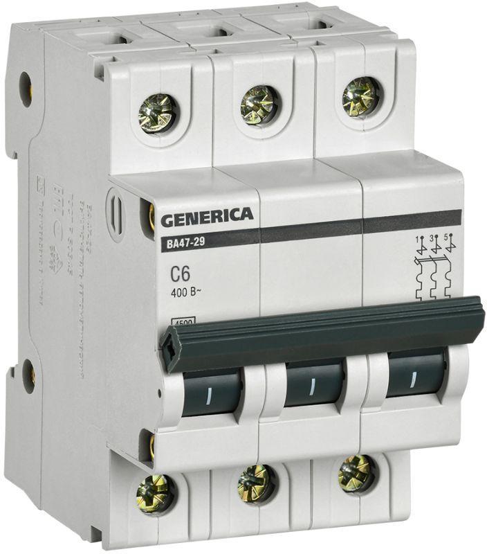 Выключатель автоматический модульный 3п C 6А 4.5кА ВА47-29 GENERICA IEK MVA25-3-006-C