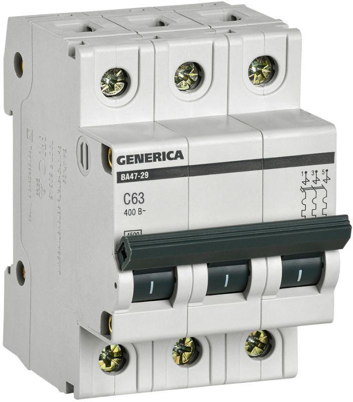 Выключатель автоматический модульный 3п C 63А 4.5кА ВА47-29 GENERICA IEK MVA25-3-063-C