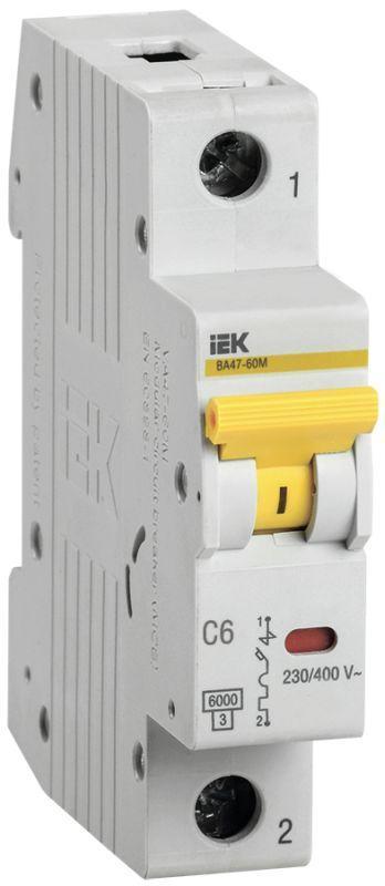 Выключатель автоматический модульный 1п C 6А 6кА ВА47-60M IEK MVA31-1-006-C