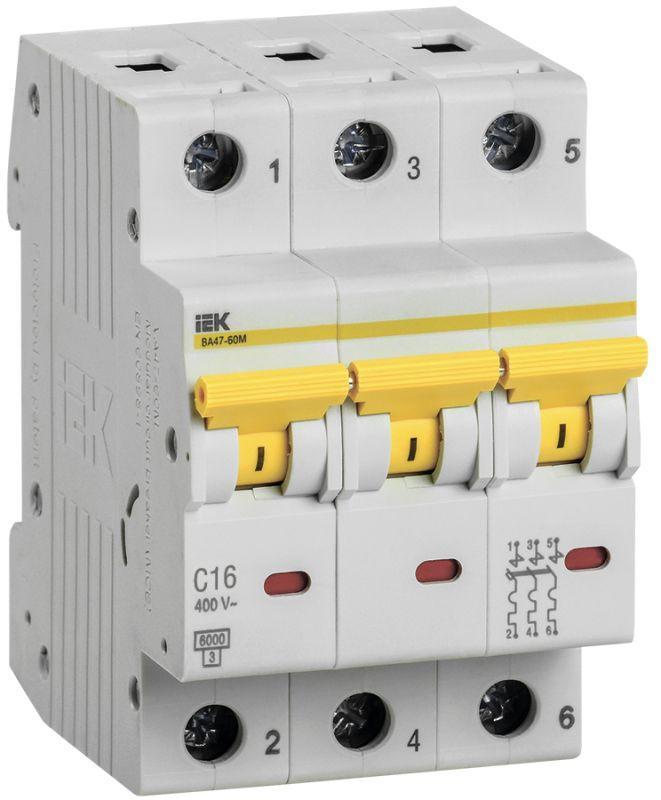 Выключатель автоматический модульный 3п C 16А 6кА ВА47-60M IEK MVA31-3-016-C