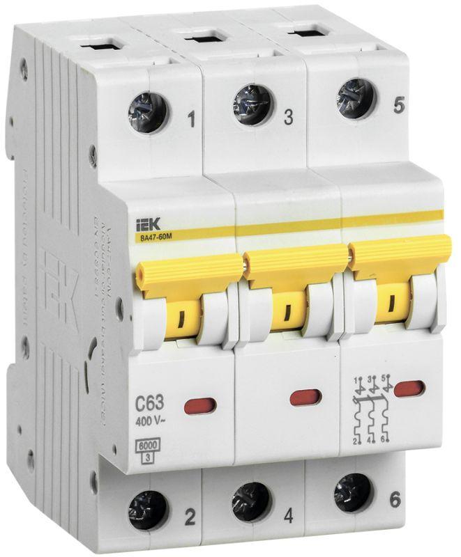 Выключатель автоматический модульный 3п C 63А 6кА ВА47-60M IEK MVA31-3-063-C