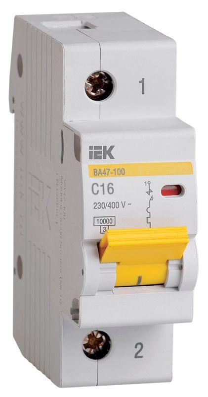 Выключатель автоматический модульный 1п C 16А 10кА ВА47-100 IEK MVA40-1-016-C