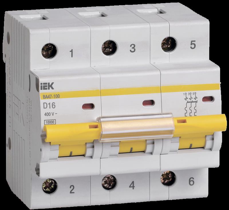 Выключатель автоматический модульный 3п D 16А 10кА ВА47-100 IEK MVA40-3-016-D