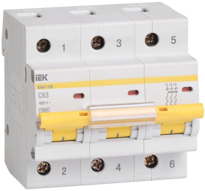 Выключатель автоматический модульный 3п C 63А 10кА ВА47-100 IEK MVA40-3-063-C