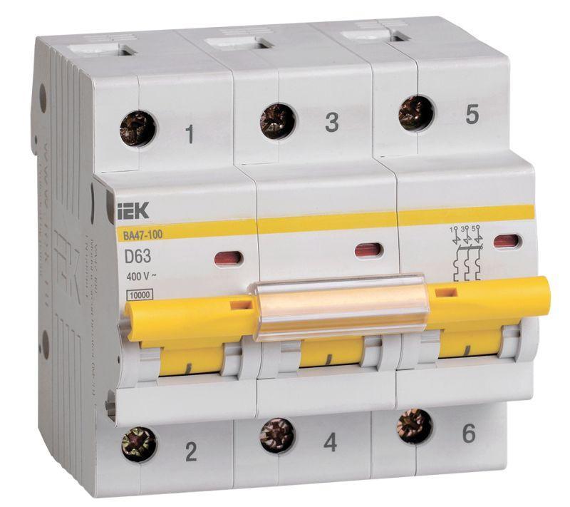 Выключатель автоматический модульный 3п D 63А 10кА ВА47-100 IEK MVA40-3-063-D