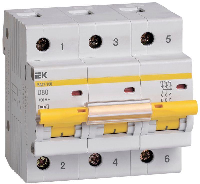 Выключатель автоматический модульный 3п D 80А 10кА ВА47-100 IEK MVA40-3-080-D
