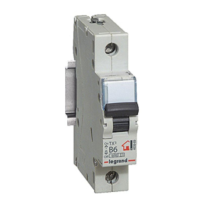 Выключатель автоматический модульный 1п C 6А 6кА TX3 6000 1мод. 230/400В Leg 404025