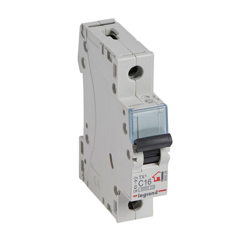 Выключатель автоматический модульный 1п C 16А 6кА TX3 6000 1мод. 230/400В Leg 404028