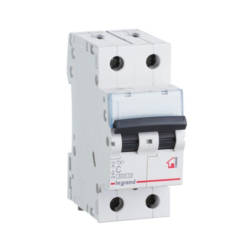 Выключатель автоматический модульный 2п C 6А 6кА TX3 6000 2мод. 230/400В Leg 404039