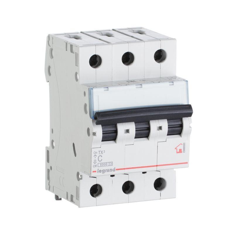 Выключатель автоматический модульный 3п C 6А 6кА TX3 6000 3мод. 400В Leg 404053