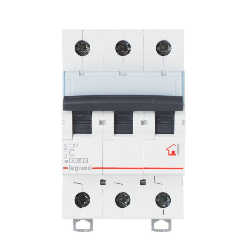 Выключатель автоматический модульный 3п C 10А 6кА TX3 6000 3мод. 400В Leg 404054