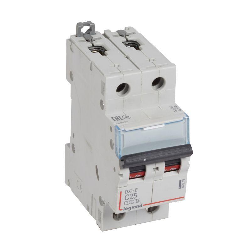 Выключатель автоматический модульный 2п C 25А 6кА DX3-E 6000 2мод. 230/400В Leg 407279