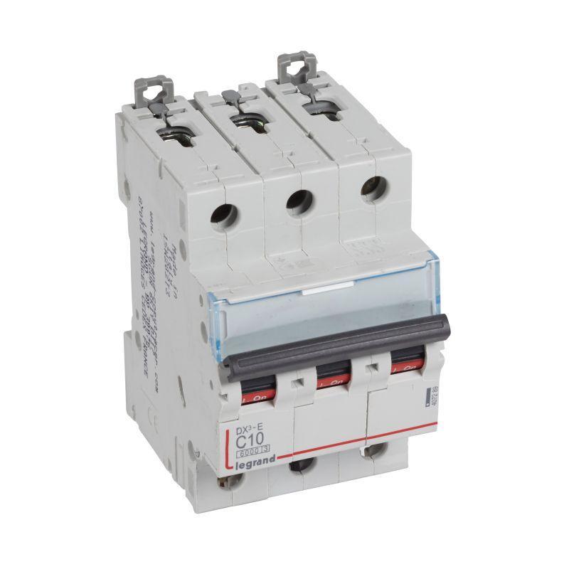 Выключатель автоматический модульный 3п C 10А 6кА DX3-E 6000 3мод. 230/400В Leg 407289