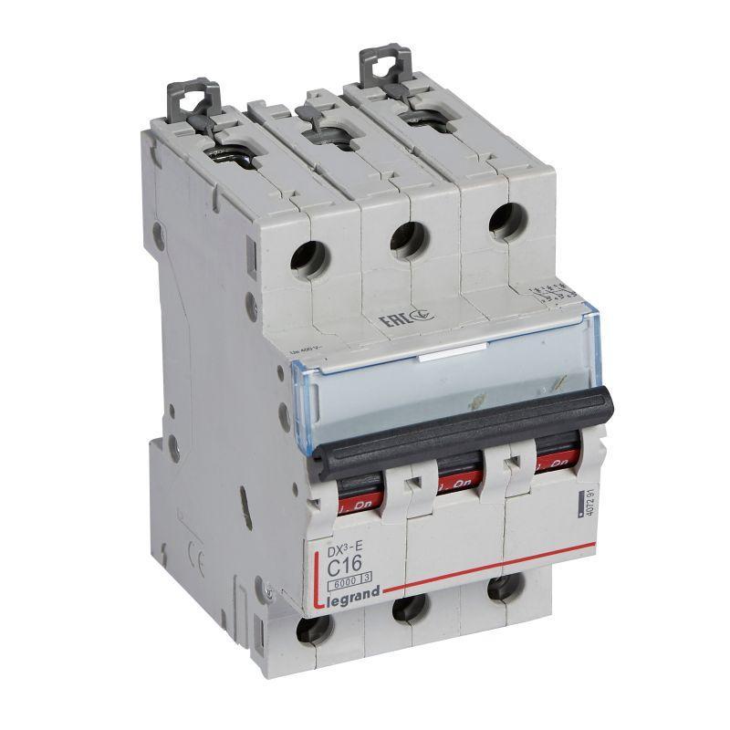 Выключатель автоматический модульный 3п C 16А 6кА DX3-E 6000 3мод. 230/400В Leg 407291