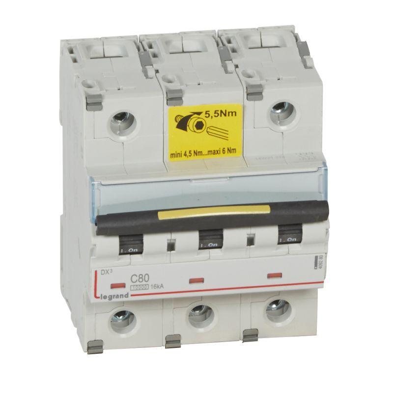 Выключатель автоматический модульный 3п C 80А 16кА DX3 10000 4.5мод. 400В Leg 409280