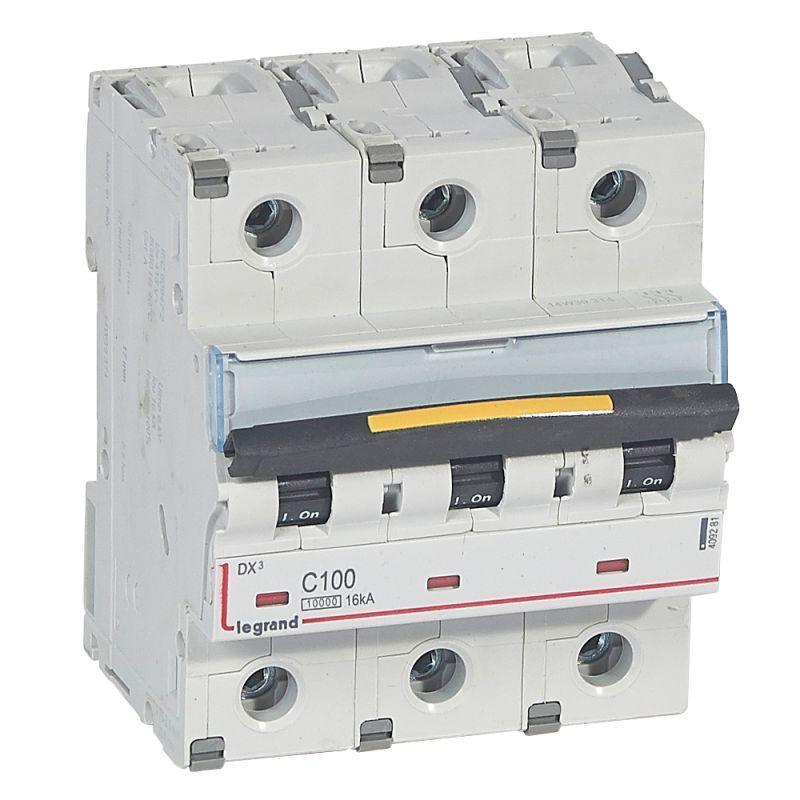 Выключатель автоматический модульный 3п C 100А 16кА DX3 10000 4.5мод. 400В Leg 409281