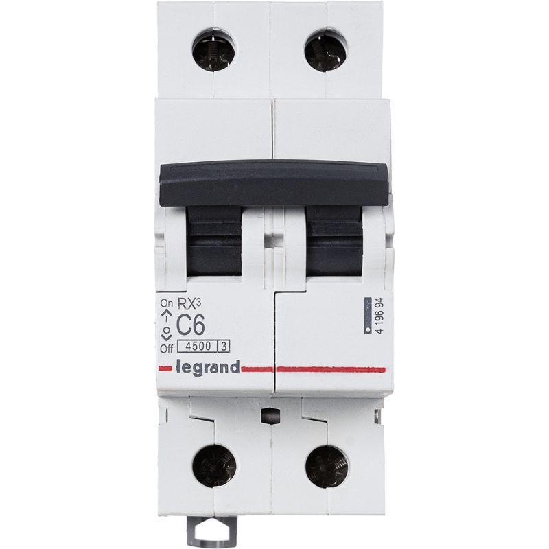 Выключатель автоматический модульный 2п C 6А 4.5кА RX3 Leg 419694
