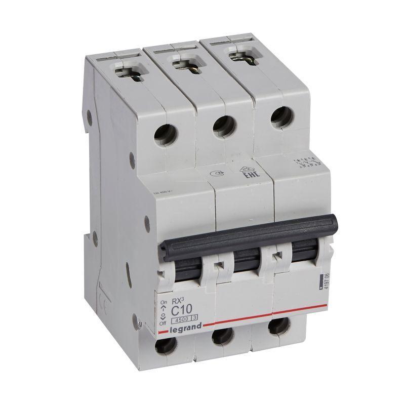 Выключатель автоматический модульный 3п C 10А 4.5кА RX3 Leg 419706
