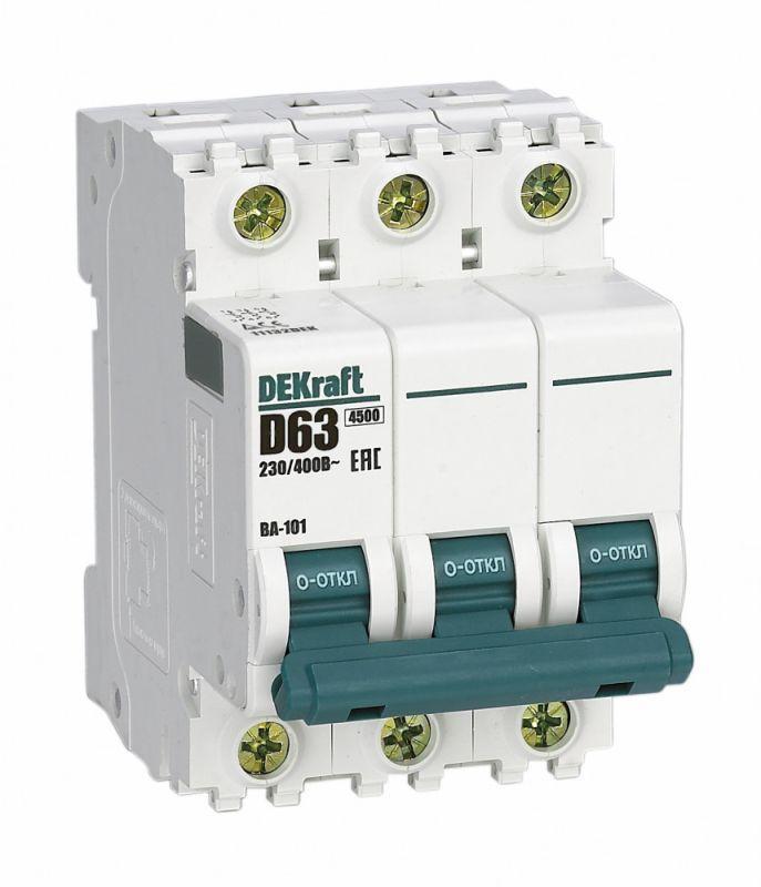 Выключатель автоматический модульный 3п D 63А 4.5кА ВА-101 SchE 11132DEK