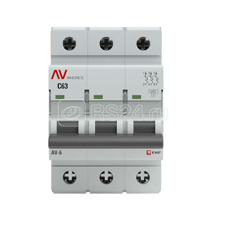 Выключатель автоматический 3п D 10А AV-10 10кА AVERES EKF mcb10-3-10D-av купить в интернет-магазине RS24
