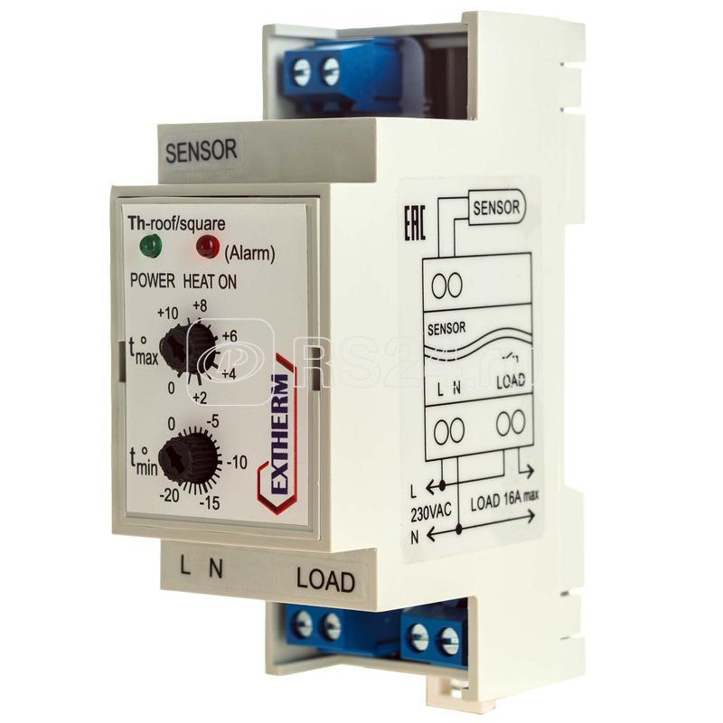 Термостат мех. для систем антиобледенения 16А на DIN-рейку EXTHERM Th-roof купить в интернет-магазине RS24