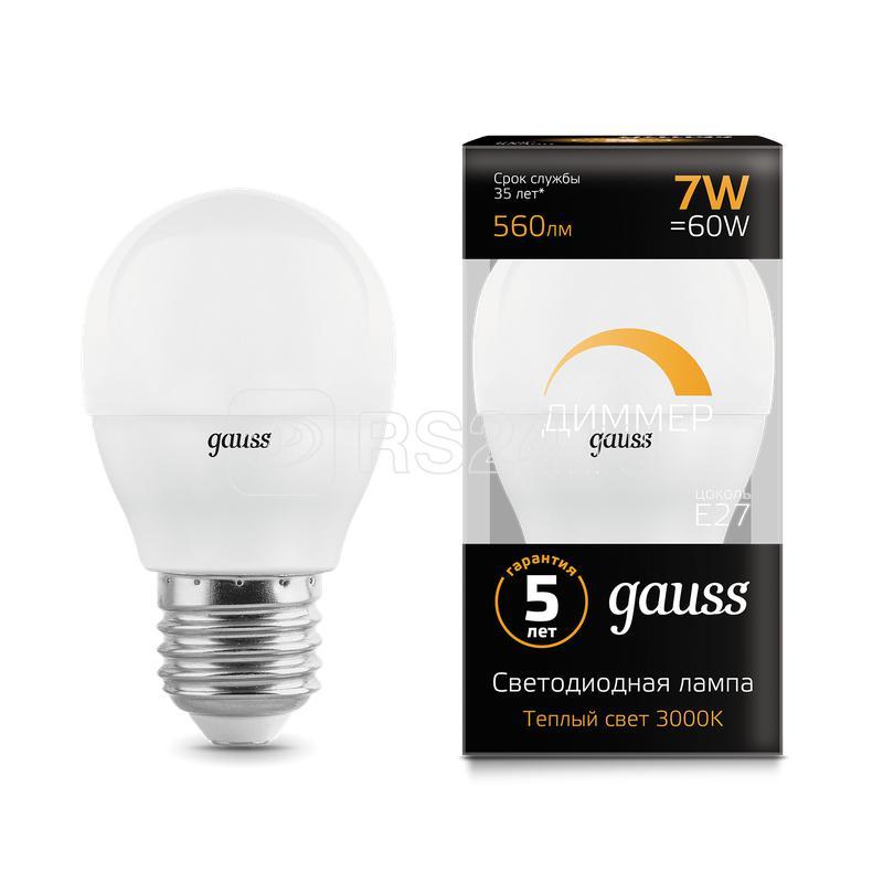 Лампа светодиодная Led Globe-dim E27 7Вт 3000К диммируемая Gauss 105102107-D купить в интернет-магазине RS24