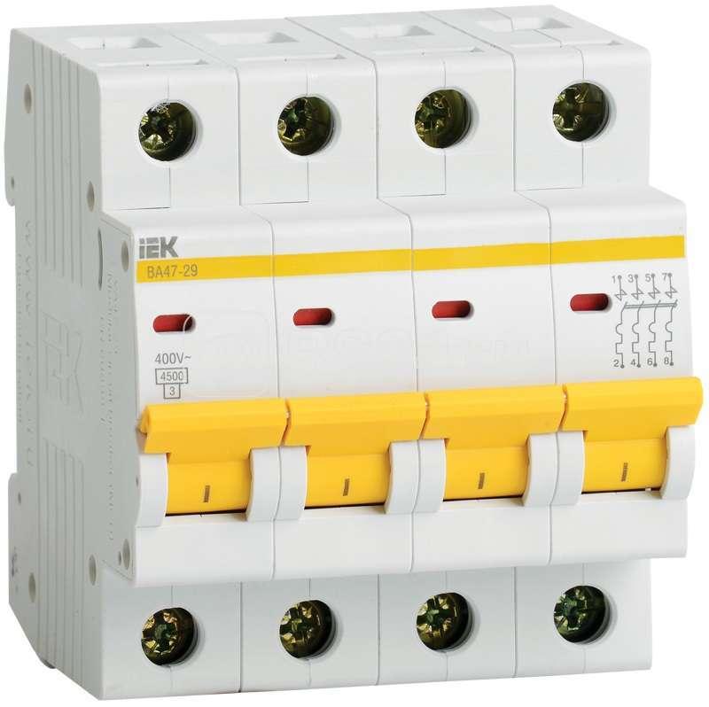 Выключатель автоматический модульный 4п C 50А 4.5кА ВА47-29 ИЭК MVA20-4-050-C купить в интернет-магазине RS24