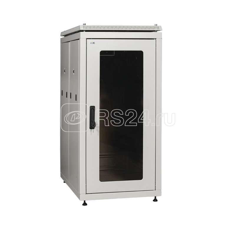 Шкаф сетевой 19дюйм  LINEA N 42U 600х1000мм стеклянная передняя дверь задняя перфорированная сер. ITK LN35-42U61-GP купить в интернет-магазине RS24