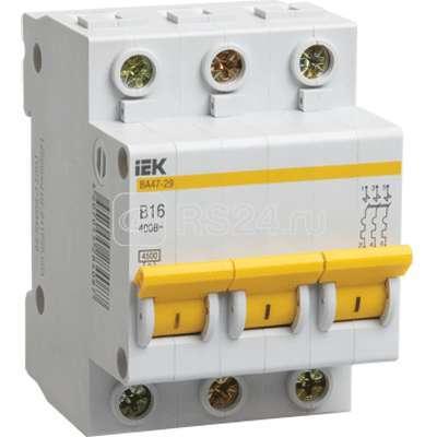 Выключатель автоматический модульный 3п B 3А 4.5кА ВА47-29 ИЭК MVA20-3-003-B купить в интернет-магазине RS24