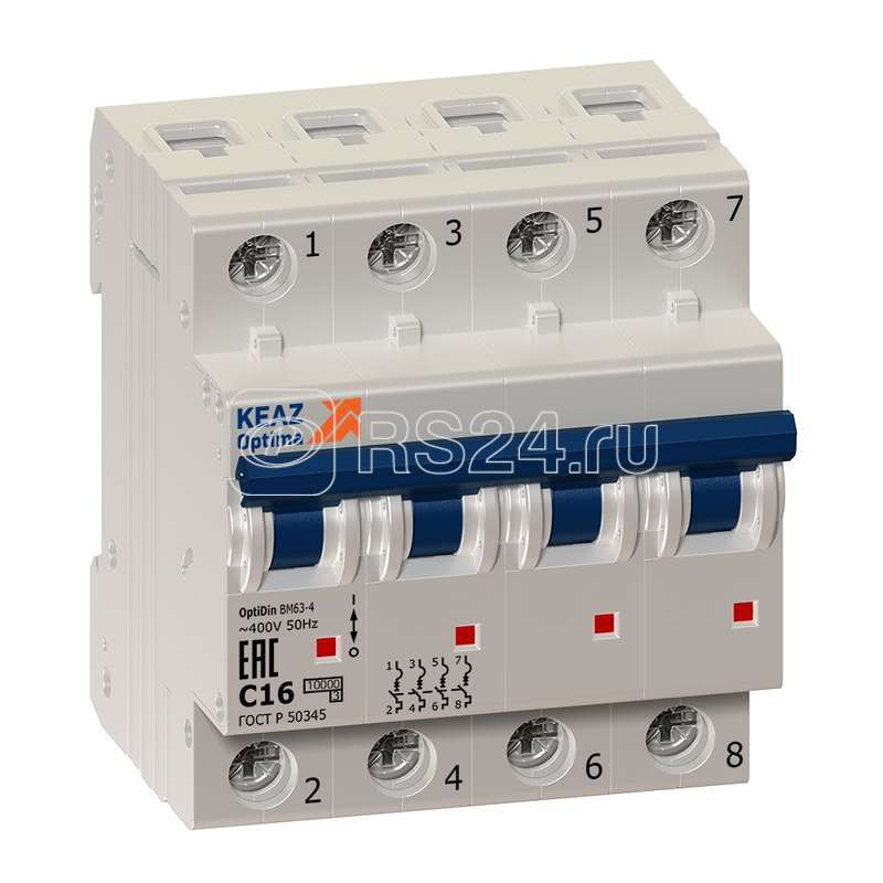 Выключатель автоматический модульный OptiDin BM63-4B50-10-УХЛ3 КЭАЗ 262844 купить в интернет-магазине RS24