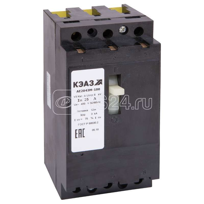 Выключатель авт. АЕ2043М-100 12.5А 12Iн 400AC У3 КЭАЗ 104565 купить в интернет-магазине RS24