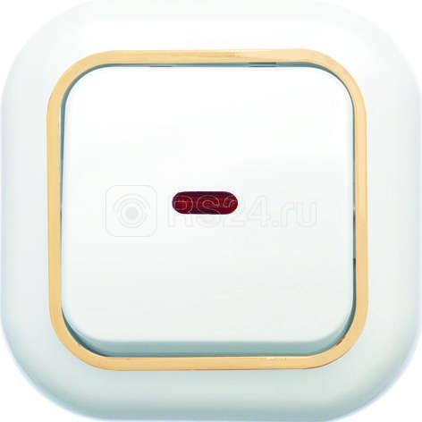 Выключатель 1-кл. СП Валентина  10А IP20 С16-068 с индик. бел./зол. Кунцево 7646 купить в интернет-магазине RS24