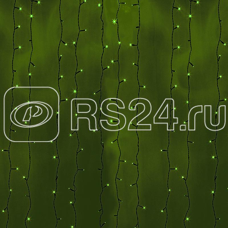 Гирлянда Дождь ПЛЕЙ-ЛАЙТ 2х6м зел. черн. провод 220В фиксинг NEON-NIGHT 235-164 купить в интернет-магазине RS24