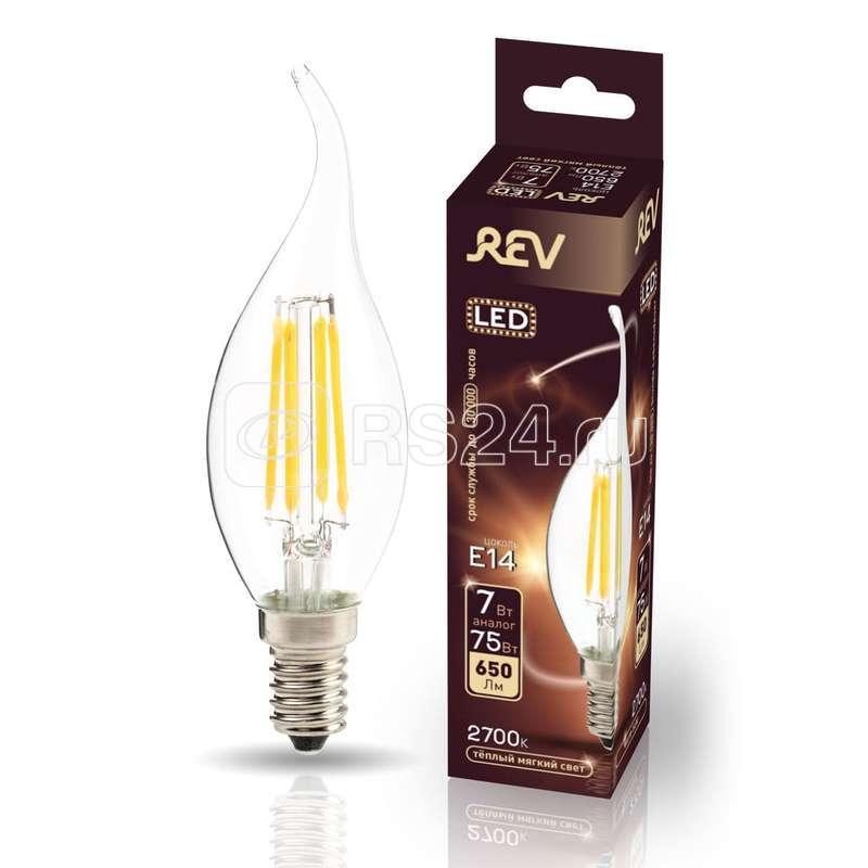 Лампа светодиодная LED FC37 E14 7Вт 650лм 2700К PREMIUM (FILAMENT) филамент теплый свет свеча на ветру REV 32432 4 купить в интернет-магазине RS24