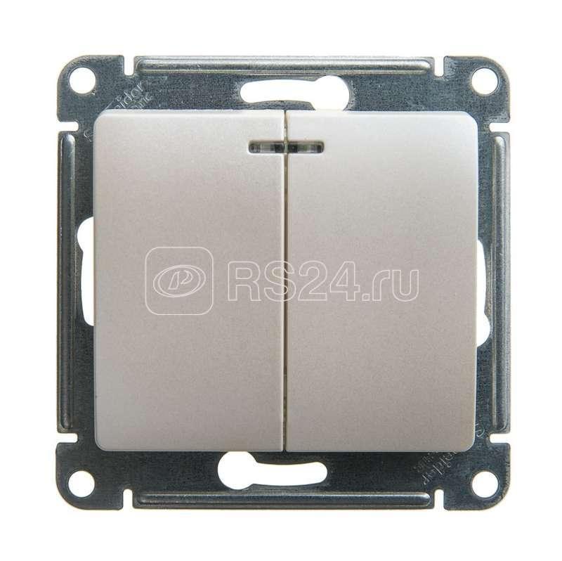 Механизм выключателя 2-кл. СП Glossa сх.5а 10А IP20 10AX с подсветкой перламутр SchE GSL000653 купить в интернет-магазине RS24