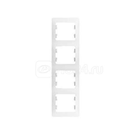 Рамка 4-м Glossa верт. бел. SchE GSL000108