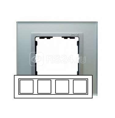 Рамка 4-м Simon82 стекло серебр. Simon 82947-62