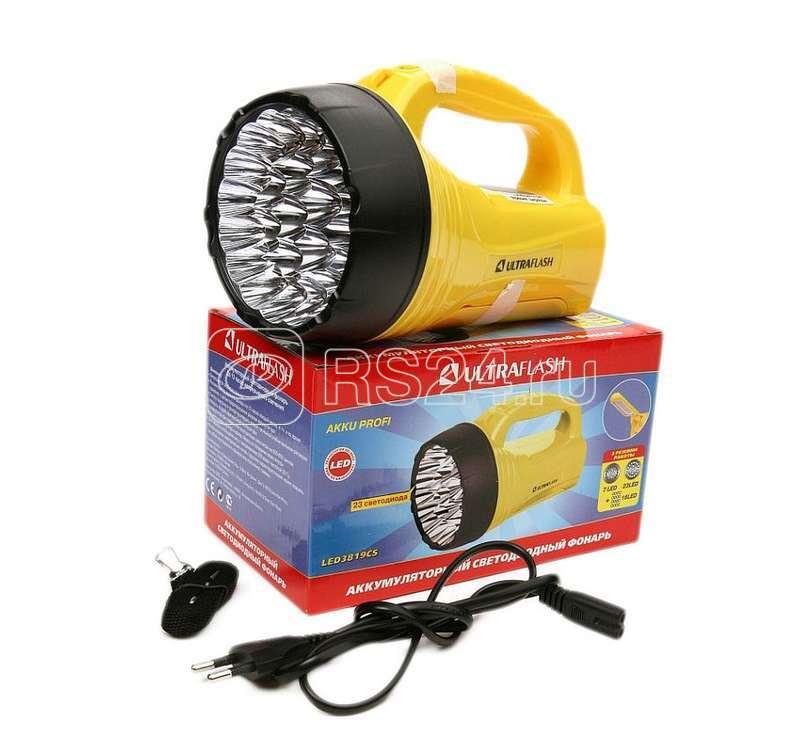 Фонарь LED3819CSM (аккум 220В жел. 9LED +12SMD LED 2 режима SLA) Ultraflash 12102/12860 купить в интернет-магазине RS24