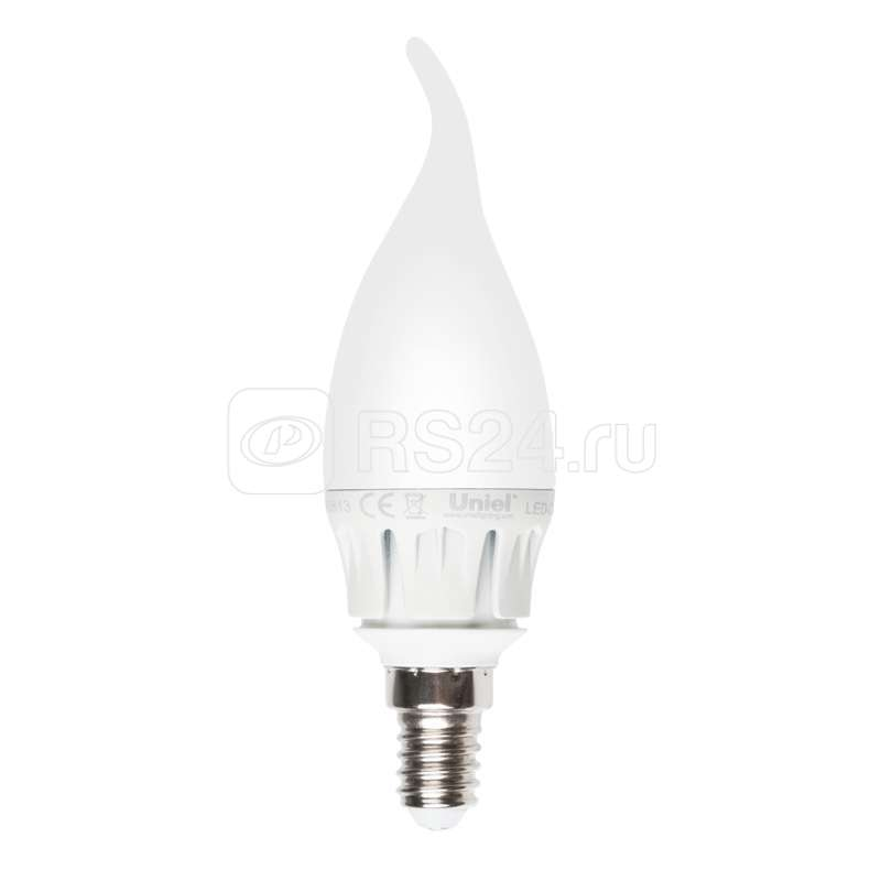 Лампа светодиодная LED-CW37-6Вт/WW/E14/FR ALM01WH пластик Uniel 08137 купить в интернет-магазине RS24