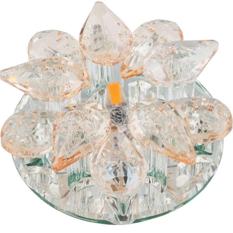 Светильник декоративный встраиваемый DLS-F129 G4 GLASSY/CHAMPAIGNE Fiore без лампы G4 основание стекло цвет зеркальный отделка кристалл шампань Fametto UL-00000354 купить в интернет-магазине RS24