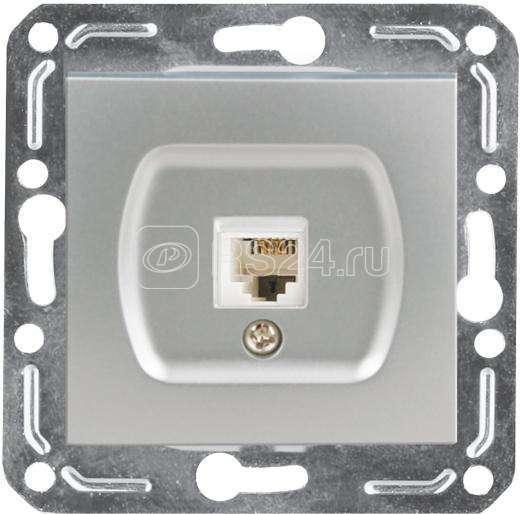 Механизм розетки телеф. 1-м V01-15-F12-М серебр. Volsten 10015 купить в интернет-магазине RS24
