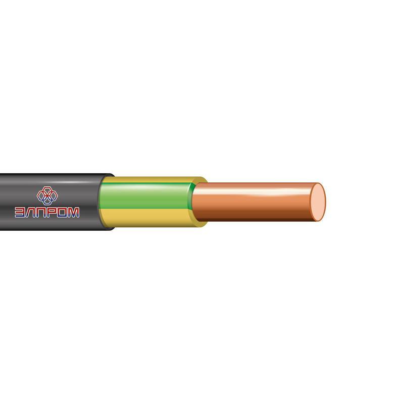 Кабель ВВГнг(А)-LS 1х10 Ж/З ОК 0.66кВ (м) ЭлПром НТ000002876