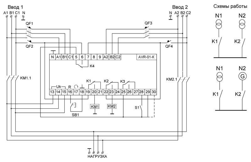 Устройство управления резервным питанием AVR-01-K (2 ввода; 1 нагрузка 35мм 3х400В+N 2х16А 2P IP20 монтаж на DIN-рейке) F&F EA04