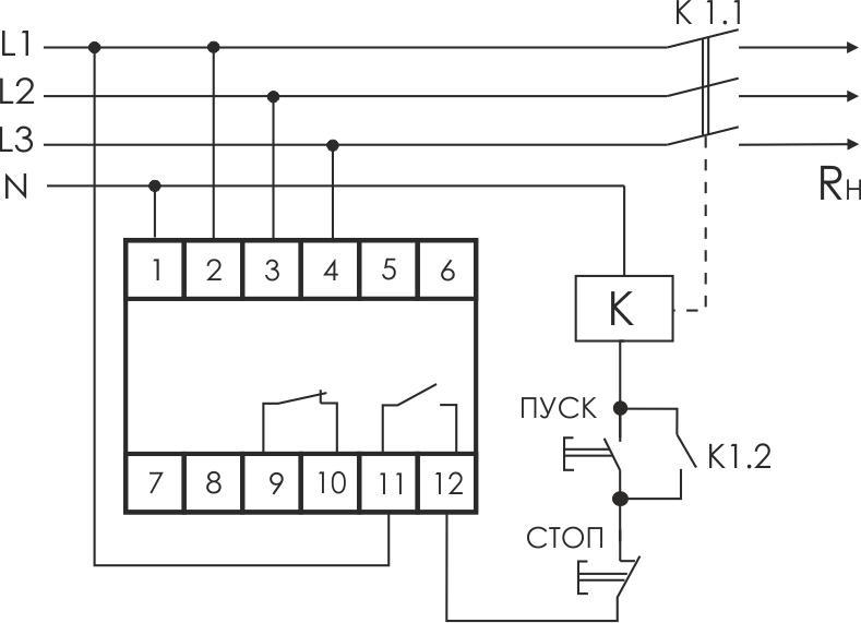 Реле напряжения CP-731 (трехфазный; микропроцессорный; контроль верхнего и нижнего значений напряжения; контроль асимметрии; чер