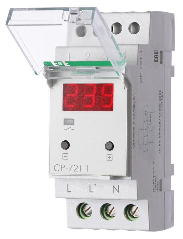 Реле напряжения CP-721-1 (однофазное; цифровая индикация; напряжение питания 50-450В контакт 1NO 63А встроен. таймер регистрация