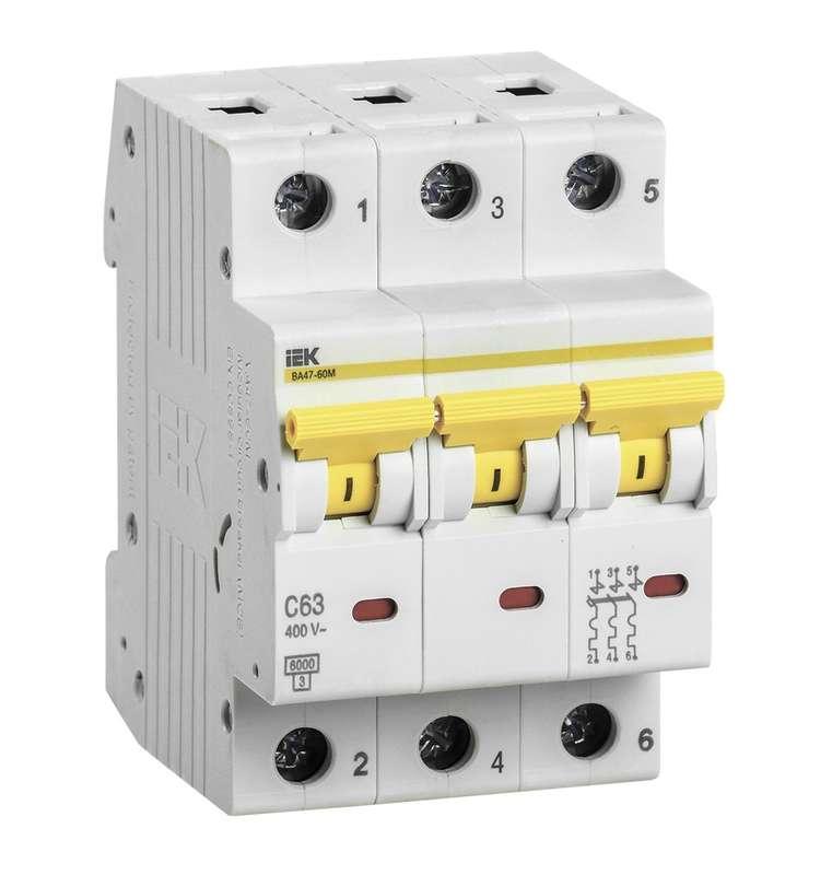 Выключатель автоматический модульный 3п D 16А 6кА ВА47-60M IEK MVA31-3-016-D