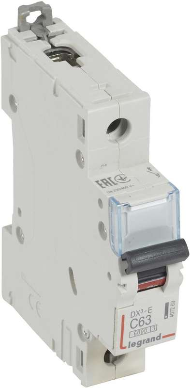 Выключатель автоматический модульный 1п C 63А 6кА DX3-E 6000 1мод. 230/400В Leg 407269