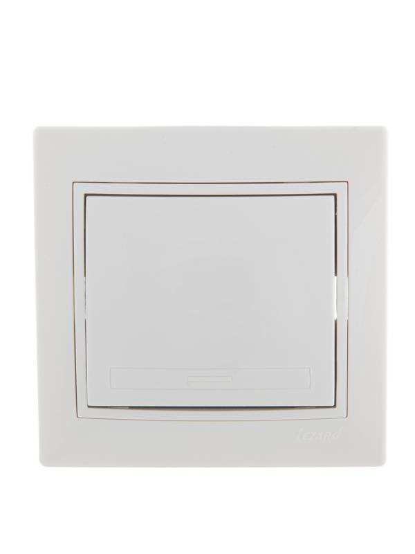 Выключатель 1-кл. СП Мира 10А IP20 с бел.вставкой бел. LEZARD 701-0202-100
